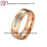 ローズの金は女性宝石類のリングセットのステンレス鋼のリングをめっきした