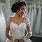 2017 Vestido de noiva feito sob medida de manga comprida Alsw1704