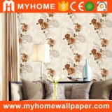 Papel de parede barato novo do PVC 3D do preço do papel de parede da flor do projeto para a decoração da parede interior