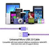 Vitesse durable USB 2.0 de charge rapide micro du câble usb 2A un mâle à la synchro micro de B et câbles de caractéristiques de remplissage pour Samsung pour l'androïde
