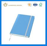 金属の螺線形ノート/管理の議題のノート(ボタンの閉鎖が付いている革カバー)