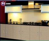 カウンタートップの石との現代高い光沢のあるLacqureのフラットパックの木の食器棚デザイン