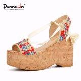 Chaussures de santals de plate-forme de liège de femmes de talons hauts de Madame Denim Lace-up