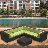 Jardín del sofá de la esquina de la rota del negro de los muebles del patio fijado (TG-JW34)