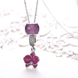 Collana lunga della collana DIY925 del fiore di figura dell'argento d'argento delle donne