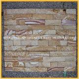 自然な緑か灰色文化石か文化石塀のタイル