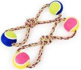 2つのテニス・ボールまたはペットおもちゃ(KBR025)が付いている犬ロープのおもちゃ