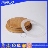 Frasco de vidro com a tampa de madeira de bambu do selo de borracha para o armazenamento do alimento da especiaria