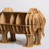 Assemble Toy Decorative Wooden Rhinoceros Side Table