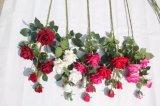 Fiori artificiali rossi di seta della Rosa di tocco reale per la decorazione domestica di cerimonia nuziale della decorazione