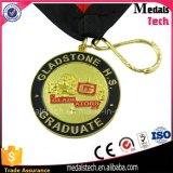 Самое новое медаль эмали металла нестандартной конструкции 2017 с сублимированной тесемкой