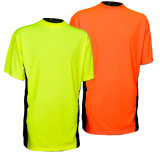 T-shirt 100% élevé de visibilité de couleur pure d'usine de coton pour la sûreté