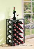 Cremagliera del vino rosso del metallo della visualizzazione della bottiglia con il piano d'appoggio di vetro