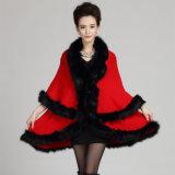 Mode féminine acrylique Fausse Fourrure tricotés châle d'hiver (YKY4464)