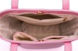 간단한 작풍 분홍색 PU 가죽 여자 장식용 부대 핸드백