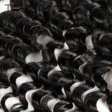 9 de alta qualidade num grau Virgem Remy Fecho Frontal em renda Brasileira Curly 13X4 Parte livre orelha a orelha com cabelos do bebê (TFH18)