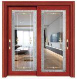 Intérieur de porte coulissante en aluminium avec double vitrage trempé d'un balcon
