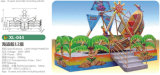 12명의 사람들 해적 게임 기계 섬유유리 배 해적은 해적선을 탄다