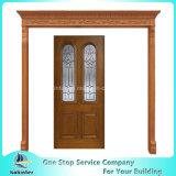 Portello di vetro di legno solido dell'oggetto d'antiquariato della patina dell'arco smussato prefinito del gemello