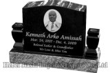 Granite Tombstone with Custom Design with Vase and Cross-country race