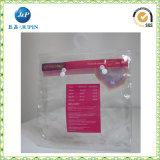 La ropa y ropa interior de PVC bolsa de plástico, PVC cosméticos bolsa de embalaje con un gancho / colgador y botón (de plástico-JP004)