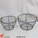 Set 2 Wired Rustic Grey Round Metal Basket