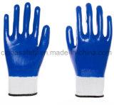 Нитрил вкладыша полиэфира голубой полно покрыл перчатки работы безопасности