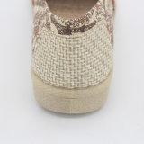 インドの印刷のキャンバスの女性の偶然靴のスリップ