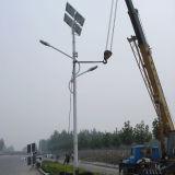 luz de rua solar do diodo emissor de luz do braço dobro de 50W 9m para a iluminação ao ar livre