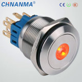 22mmのステンレス鋼の反破壊者の青いLEDによって照らされる瞬時の押しボタンスイッチ