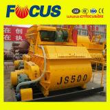 Mini misturador concreto elétrico, misturador concreto do eixo Js500 gêmeo automático