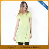 T-shirt blanc de femmes fondamentaux de Spandex de la rayonne 5% de la coutume 95%