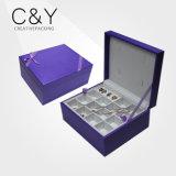 Rectángulo de almacenaje de cuero púrpura de la joyería de la PU de la Caliente-Venta