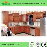 白いカラーの純木の食器棚の製造業者