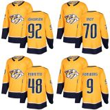 2018 Nova Marca Homens Mulheres jovens predadores de Nashville 92 Ryan Johansen 70 Tyler Moy 48 Stephen Perfetto 9 Filip Forsberg qualquer Nome Personalizado Amarelo & N. Hockey camisolas
