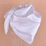 Venda a quente cor pura seda macio mulheres lenço Cachecol 90*90 cm