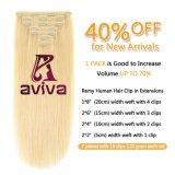 Clip en cheveux humains d'extension vierge d'extension de cheveux humains brésilien hair extension 613# 14inch Hair Extension pour le plein la tête (AV-CHL07-14-613)