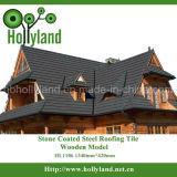 Hoja de techo de metal con piedras cubiertas (teja de madera)