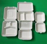 生物分解性の使い捨て可能なサトウキビのバガスのお弁当箱10インチ、3compボックス