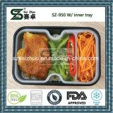 950ml verdicken schwarzen/weißen Wegwerfplastiknahrungsmittelbehälter mit innerem Tellersegment