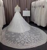 Vestidos de casamento reais do laço da amostra 3/4 da alta qualidade