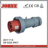 IP67 5p 63A leistungsfähige an der Wand befestigte Kontaktbuchse für industrielles