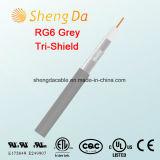 RG6 Cabo coaxial cinza Tri-Shield para CATV -Factory