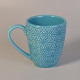 l'azzurro 287ml ha lustrato la tazza bevente di ceramica con il disegno del fiore