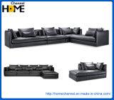 Sofá superior negro seccional del cuero de grano de Italia 7 Seater para la sala de estar (HC3036)