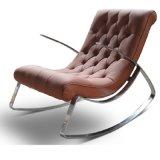 Nordic Style Modren cadeira simples em couro balançando