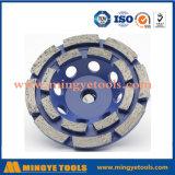 Roda de copo de moagem de diamante de linha dupla para material geral de alvenaria