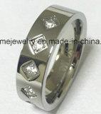 Ring van het Roestvrij staal van de Ring van de Juwelen van de manier 5PCS de Stenen Ingelegde (CZR2524)