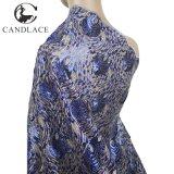 Tessuto africano del merletto dei Sequins dell'azzurro reale per il vestito da partito