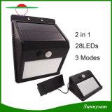 Su uso en exteriores interiores tipo split Sensor de movimiento de pared de luz solar LED de 28